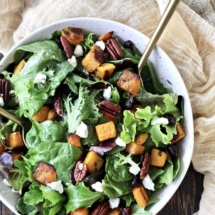 Roasted Butternut Squash Salad with Maple Dijon VinaigretteRoasted Butternut Squash Salad with Maple Dijon Vinaigrette