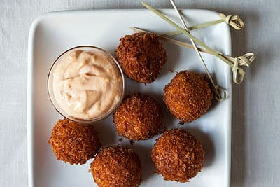 Serrano Ham and Manchego Croquetas with Smoked Pimenton Aioli