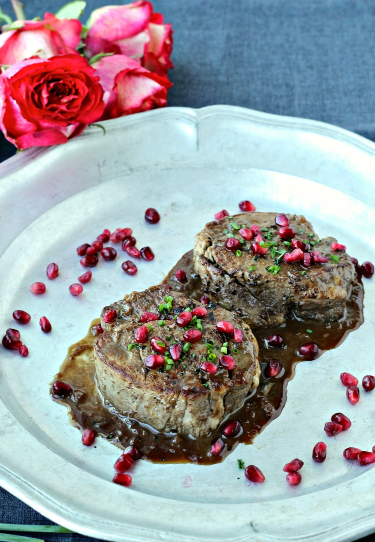 Filet Mignon with Pomegranate Dijon Sauce | @foodiephysician