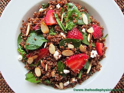 Dining with the Doc: Quinoa Salad with Spinach, Strawberries and Goat Cheese