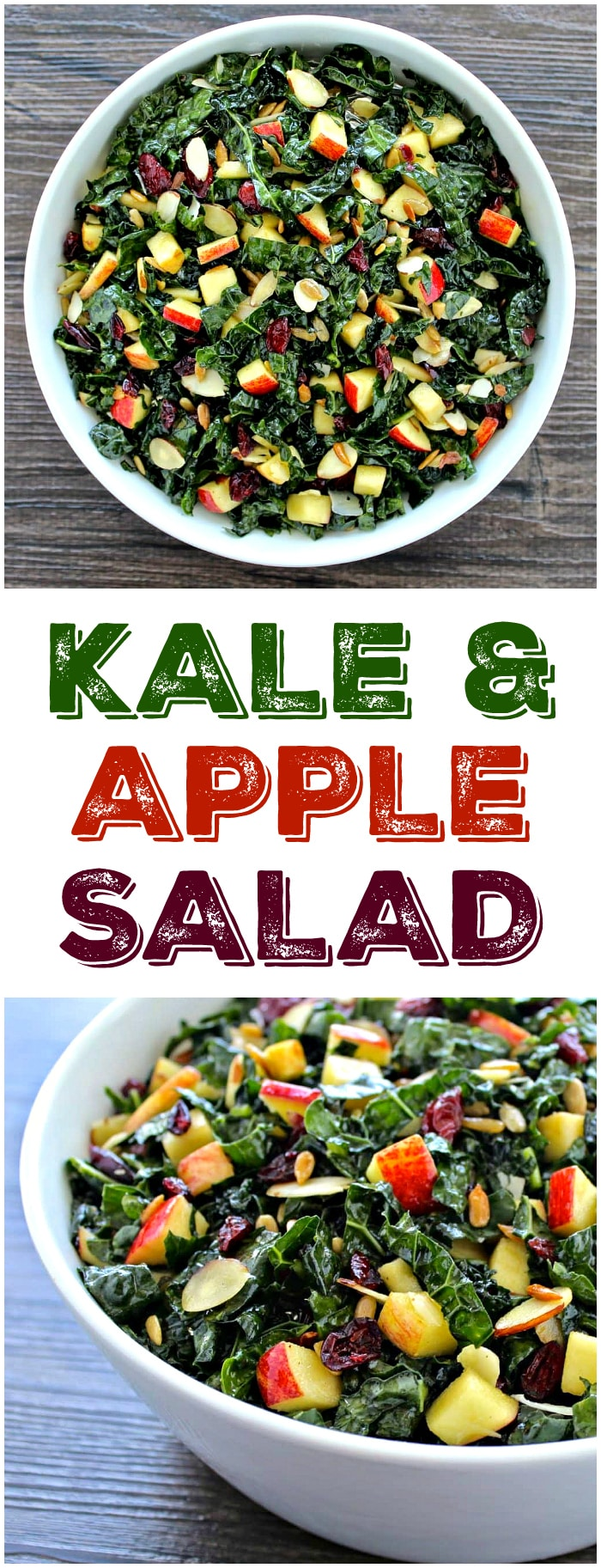 Fresh, clean ingredients come together in this visually stunning Tuscan Kale & Apple Salad!