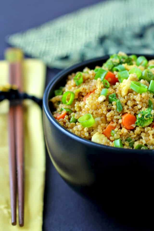 "Quinoa Fried ""Rice""- protein-packed quinoa replaces white rice in this healthier version of the classic Chinese dish. 