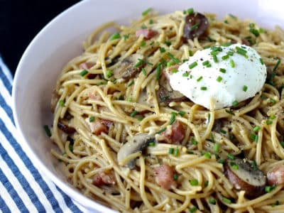 Dining with the Doc: Spaghetti Carbonara with Cremini Mushrooms and a Warm Poached Egg