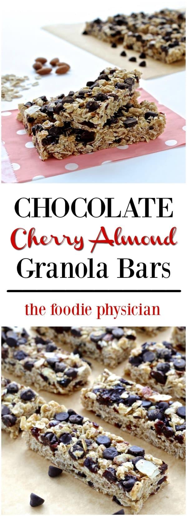 No-Bake Chocolate Cherry Almond Granola Bars | @foodiephysician