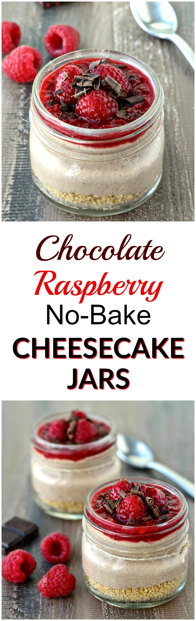 ChocolateRaspberry No-Bake Cheesecake Jars | @foodiephysician