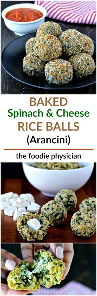 Baked Spinach and Cheese Rice Balls (Arancini) | @foodiephysician
