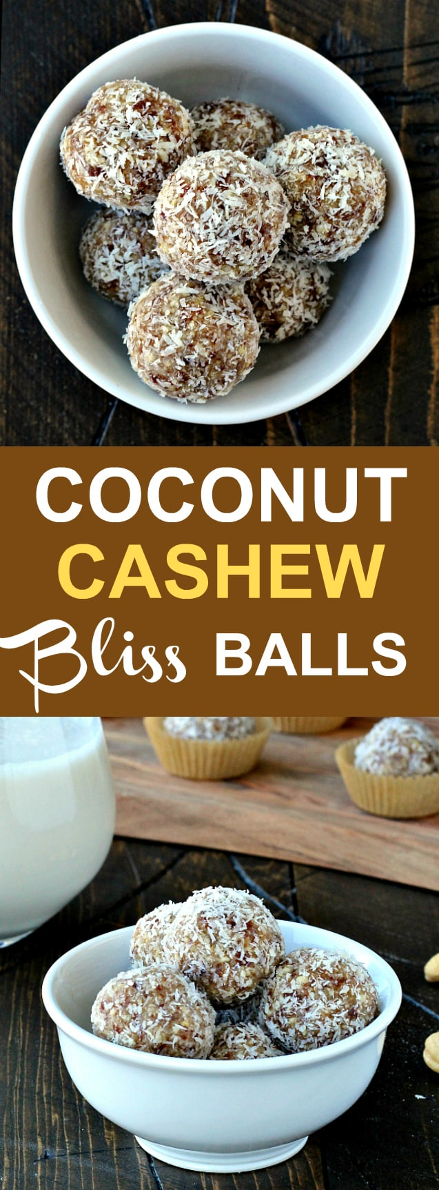 Coconut Cashew Bliss Balls- coconut and cashews come together for the perfect afternoon indulgence!