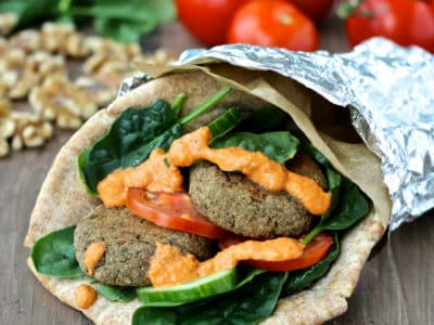 Dining with the Doc: Spiced Lentil & Walnut Patties with Roasted Red Pepper Walnut Sauce