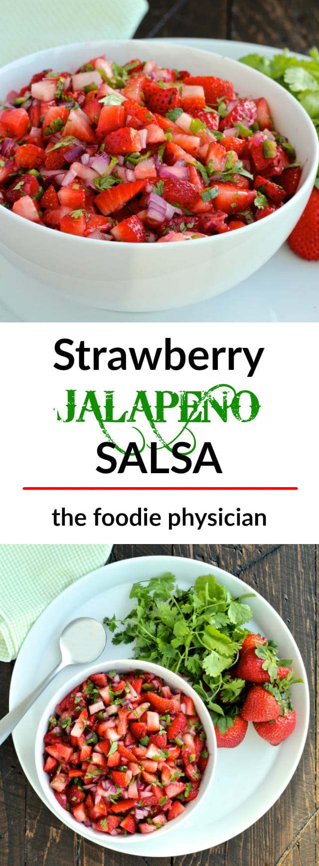 Strawberry Jalapeño Salsa - bursting with flavor, this easy 5 ingredient salsa is perfect for summer!