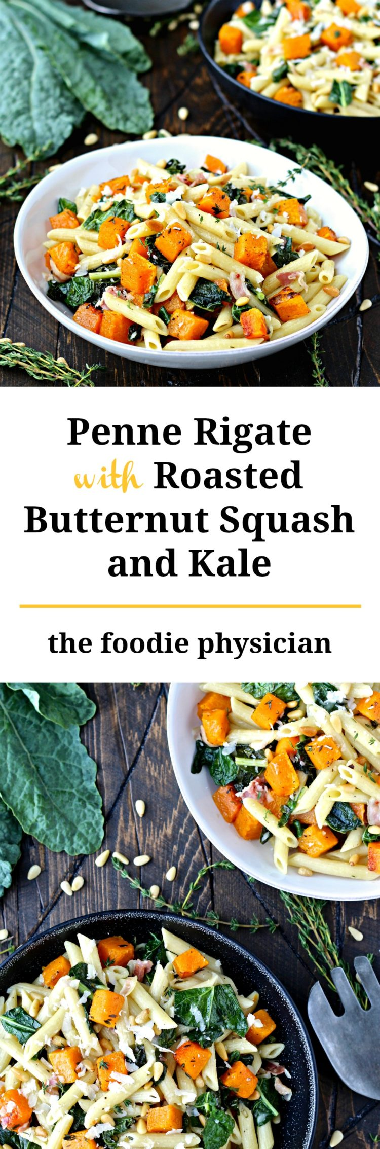 Penne with Roasted Butternut Squash and Kale | @foodiephysician