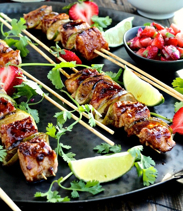 Strawberry Teriyaki Salmon Kebabs with Strawberry Jalapeño Salsa   @foodiephysician