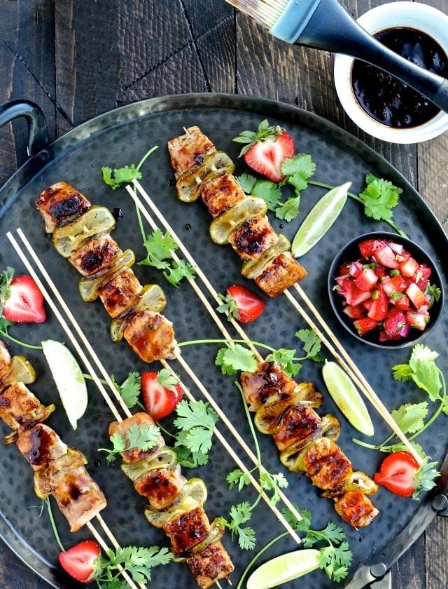 Strawberry Teriyaki Salmon Kebabs with Strawberry Jalapeño Salsa | @foodiephysician