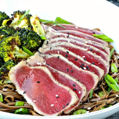 Dining with the Doc: Seared Tuna with Soba Noodles and Sesame Roasted Broccoli