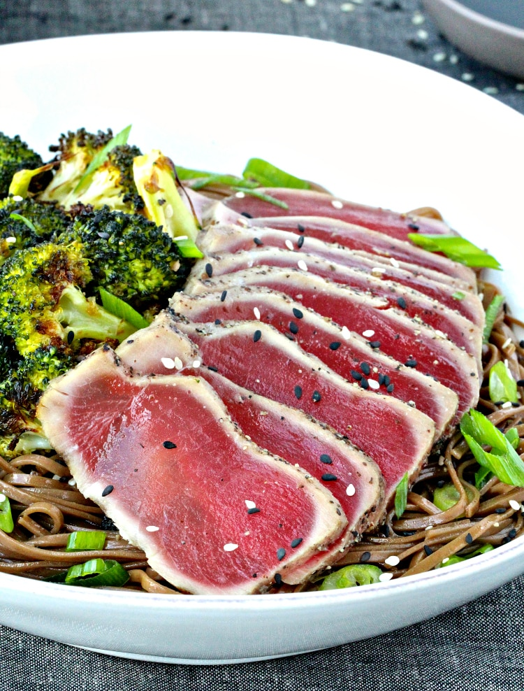 Seared Tuna with Soba Noodle & Sesame Roasted Broccoli | @foodiephysician