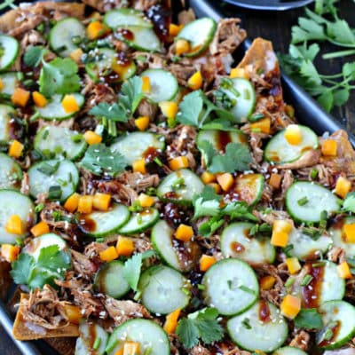 Slow Cooker Asian Pulled Chicken Nachos