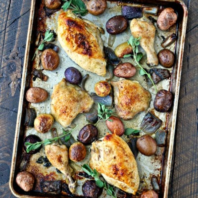 Sheet Pan Roast Chicken and Potatoes with Chimichurri