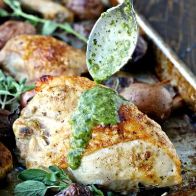 Sheet Pan Roast Chicken and Potatoes with Chimichurri   @foodiephysician