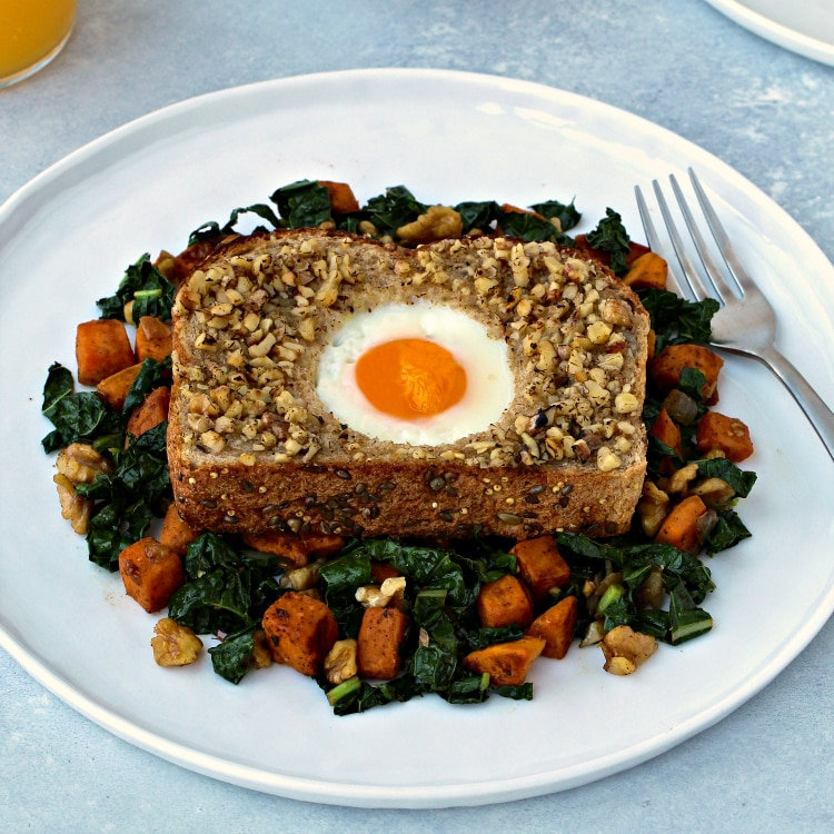 Walnut-Crusted Toad in a Hole | @foodiephysician