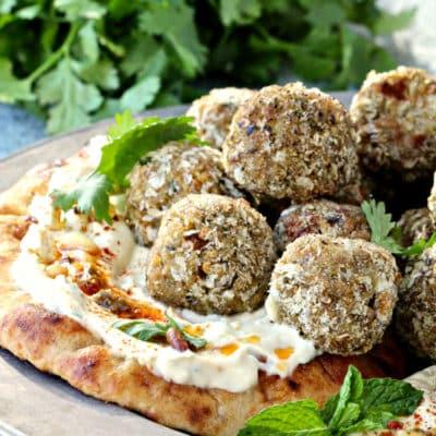 "Mediterranean Eggplant Hummus ""Meatballs"""