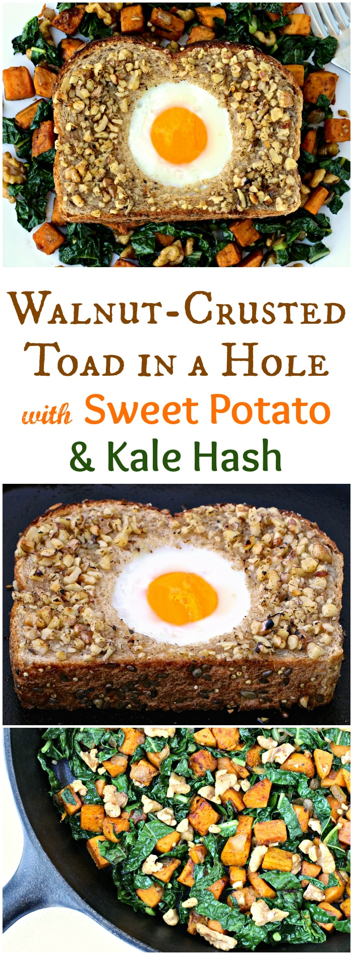 Walnut-Crusted Toad in a Hole with Mediterranean Sweet Potato and Kale Hash | @foodiephysician
