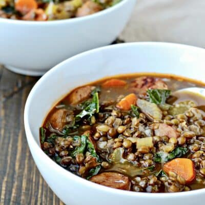 Lentil Soup with Sausage and Greens.