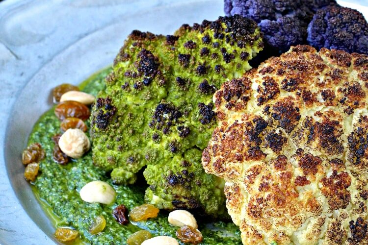 Whole Roasted Cauliflower with Marcona Almond Pesto