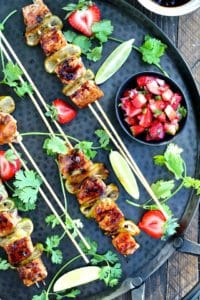 Strawberry Teriyaki Salmon Kebabs