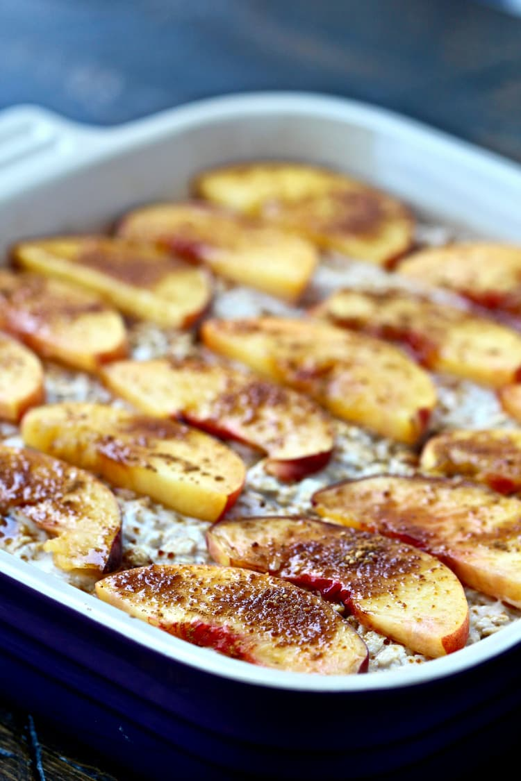 Peaches & Cream Baked Oatmeal   @foodiephysician