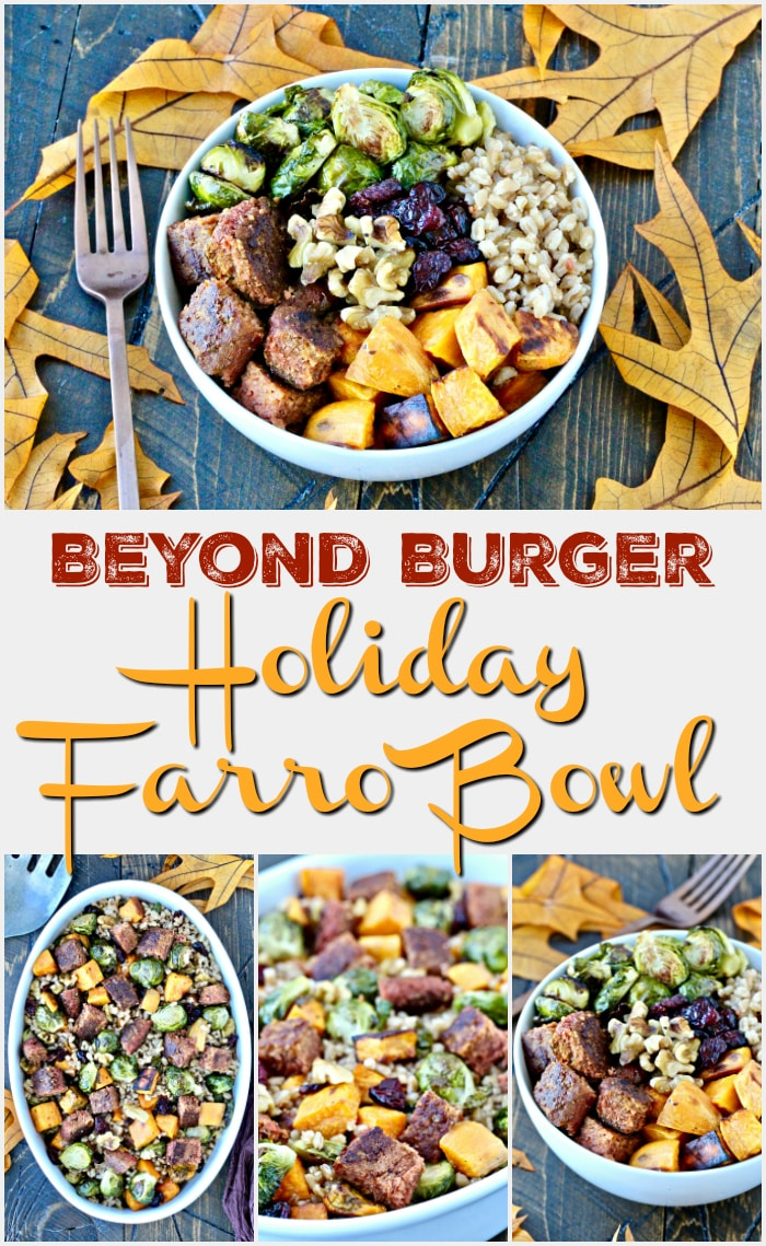 Beyond Burger Holiday Farro Bowl- this hearty vegan dish is packed with colorful, seasonal ingredients and is the perfect addition to your holiday table!