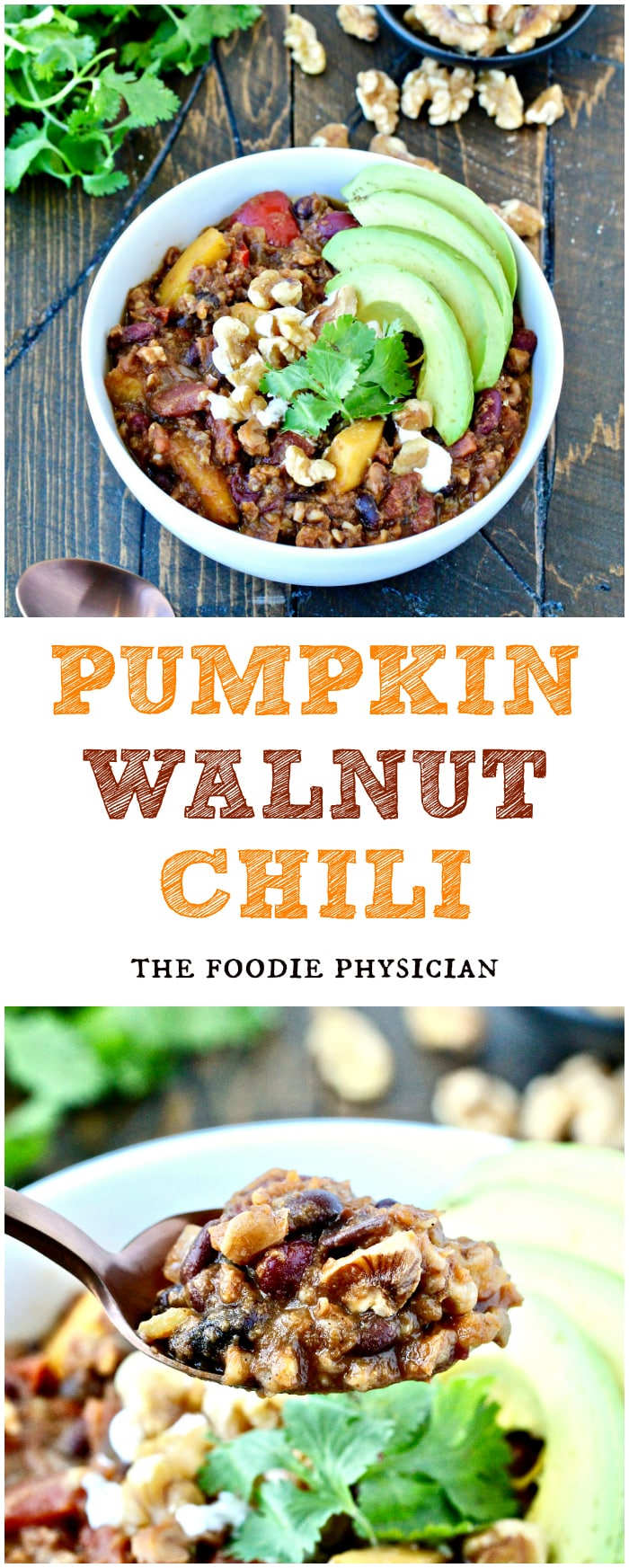 Whether you're making dinner for the family or feeding a crowd, a hearty bowl of this Pumpkin Walnut Chili is sure to be a hit! #TeamGoodFat | @foodiephysician