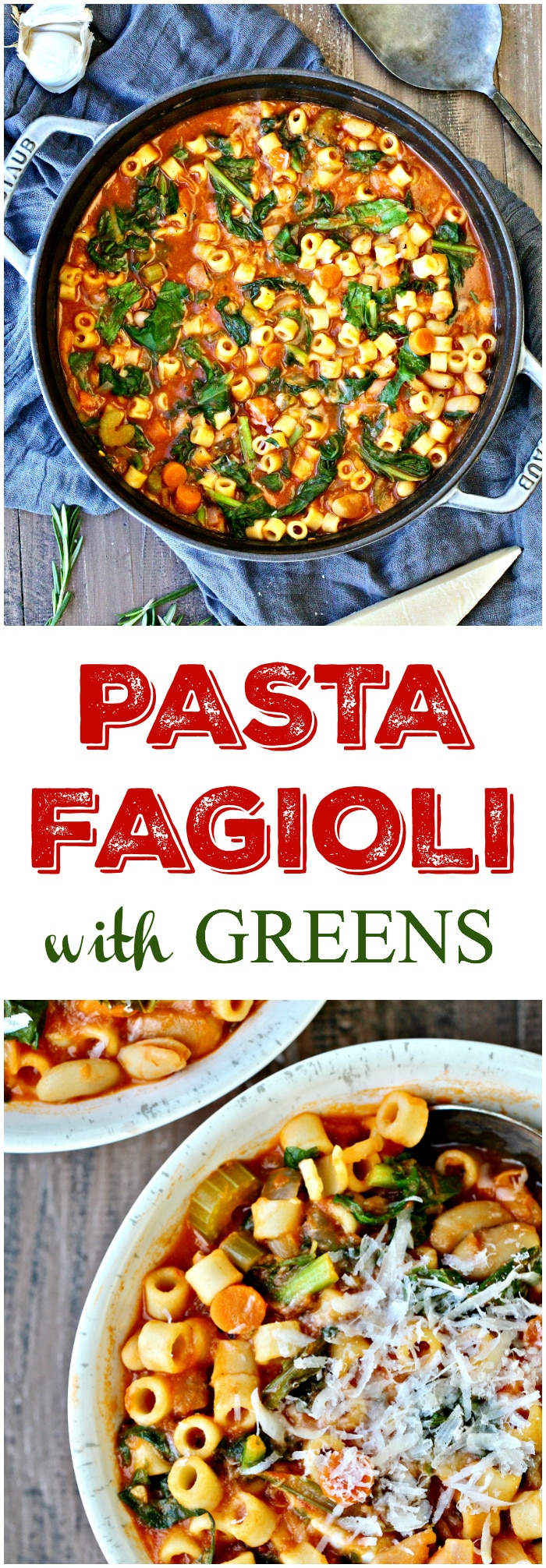 This Pasta Fagioli with Greens isa comforting, stick-to-your-ribs soup that's satisfying and full of flavor!