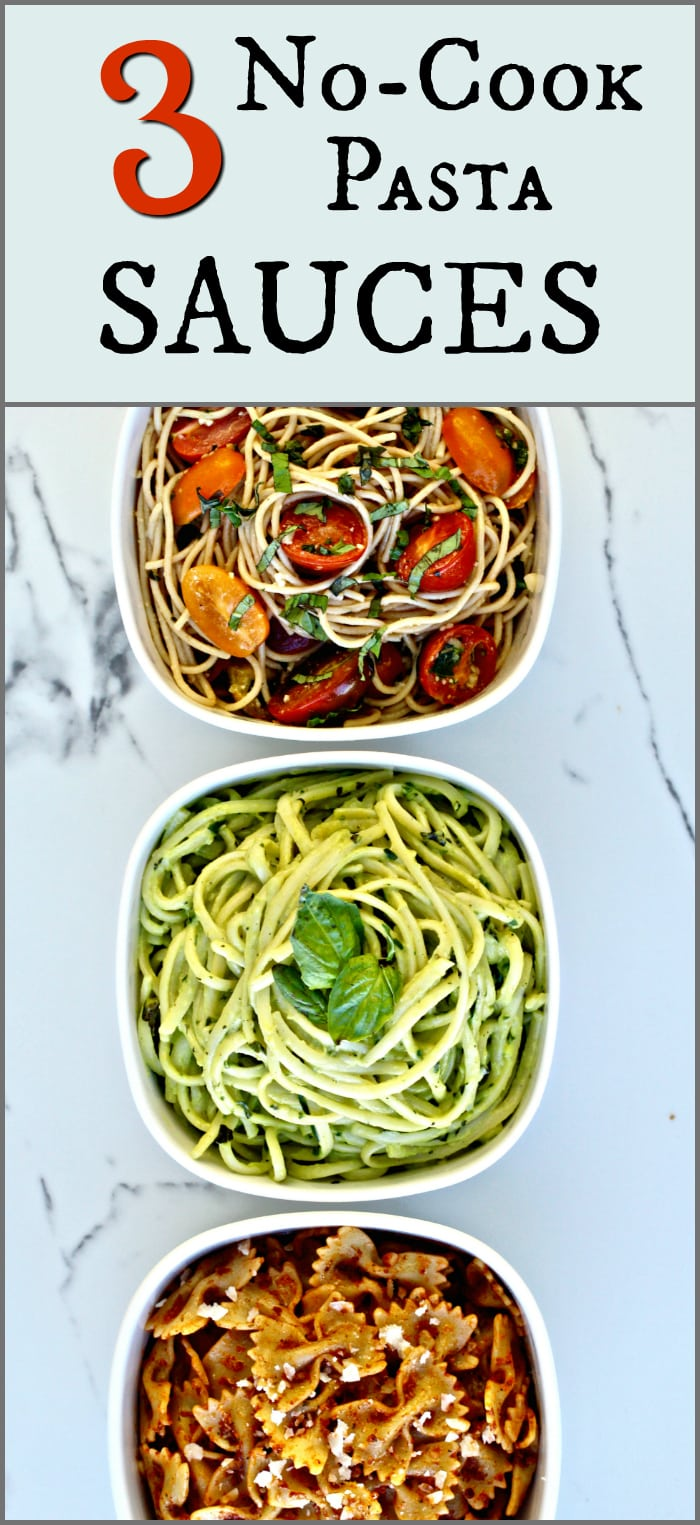 Check out these 3 easy, delicious and nutritious no-cook pasta sauces! The post includes a no-cook tomato sauce, a creamy avocado sauce and a sundried tomato pesto.