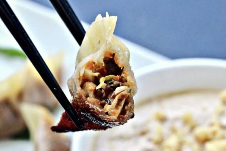 Vegetable Walnut Potstickers With Walnut Sauce