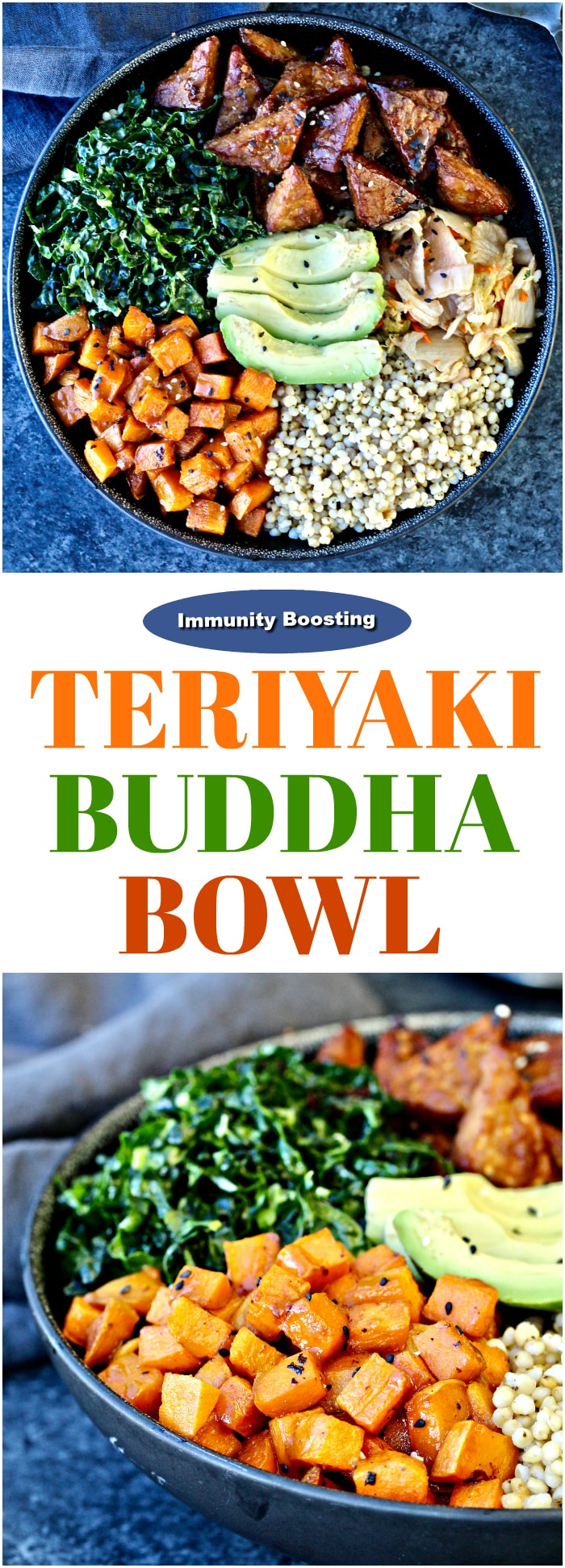 One-bowl meals are the perfect way to elevate game night! My Immunity-BoostingTeriyaki Buddha Bowl made with @KikkomanUSA Teriyaki Marinade & Sauce is a colorful, umami-packed way to give your immune system a boost! Share your own favorite #bowlingnight pics! #sponsored