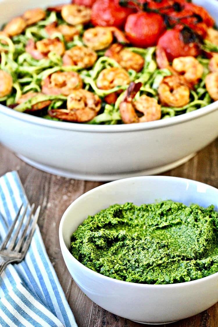 Collard Greens Pesto and Grilled Shrimp