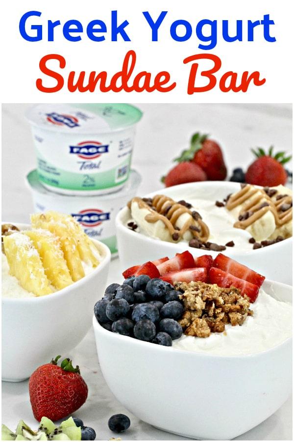 A Greek Yogurt Sundae Bar makes a terrific after-school snack- it's like an ice cream sundae bar but a whole lot healthier! #FAGEYourWay #ad @FAGEUSA