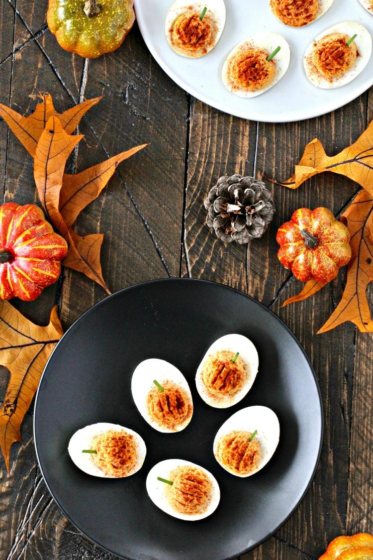 Roasted Red Pepper Hummus Deviled Eggs