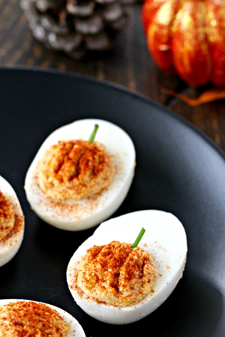 Roasted Red Pepper Hummus Deviled Eggs