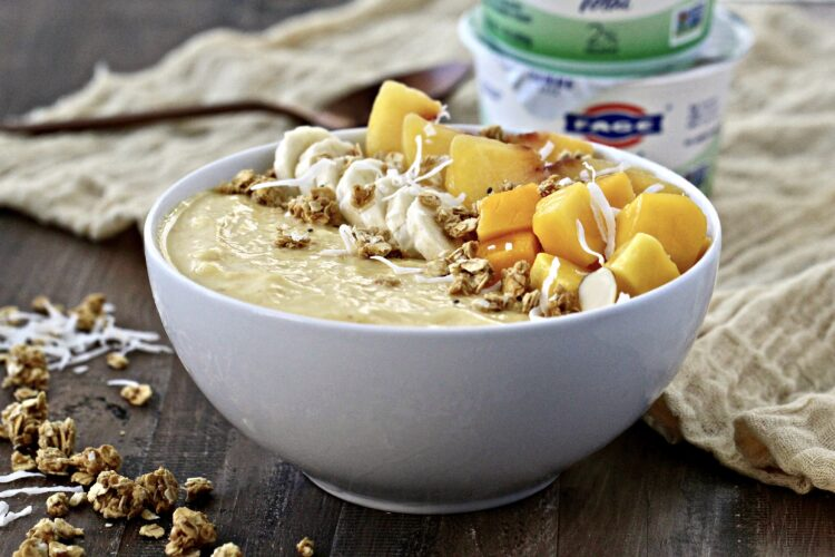 Mango Peach Smoothie Bowl