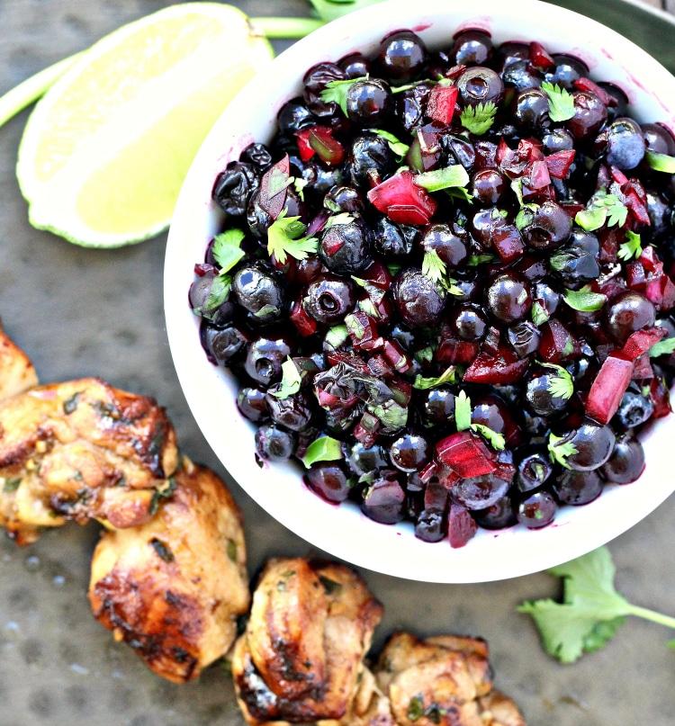 Cilantro Lime Chicken Skewers with Wild Blueberry Salsa