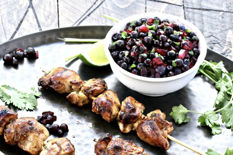 Cilantro Lime Chicken Skewers with Wild Blueberry Salsa