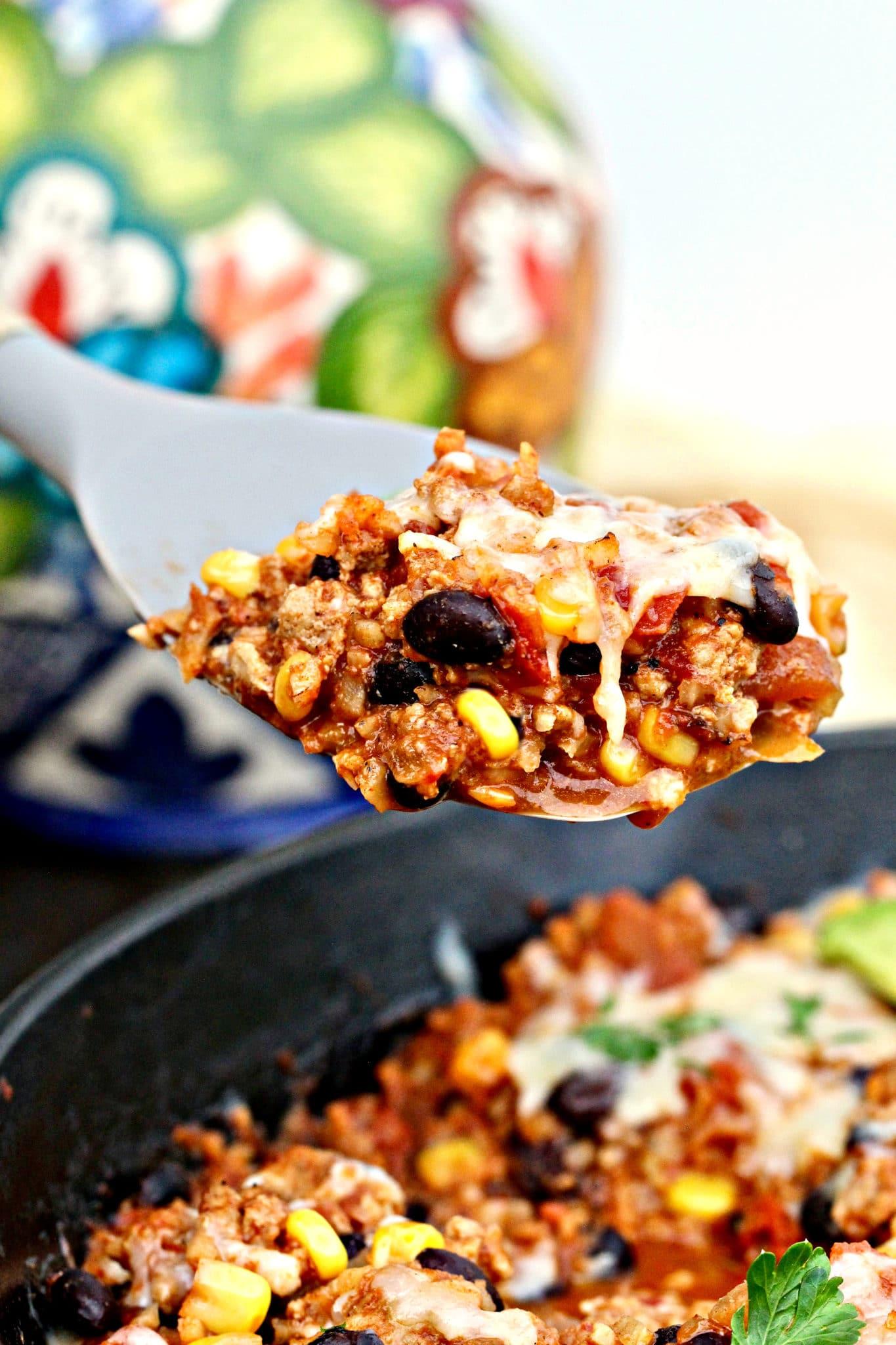Cheesy Turkey and Cauliflower Rice Taco Skillet
