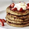 Strawberry Oatmeal Blender Pancakes