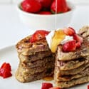 Strawberry Oatmeal Blender Pancakes