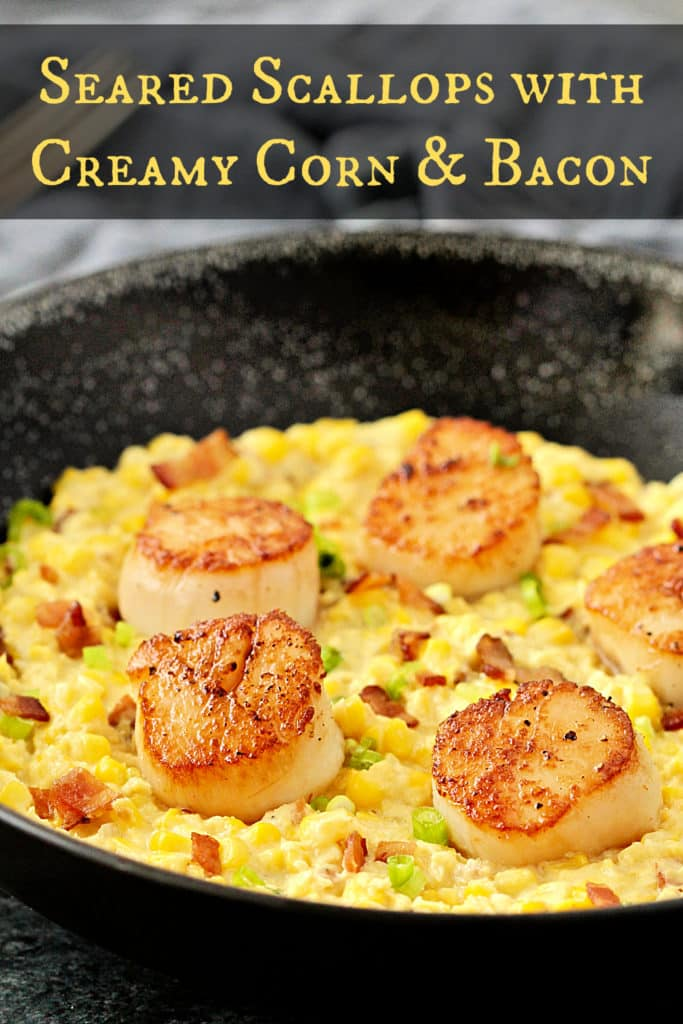 Seared Scallops with Creamy Corn and Bacon
